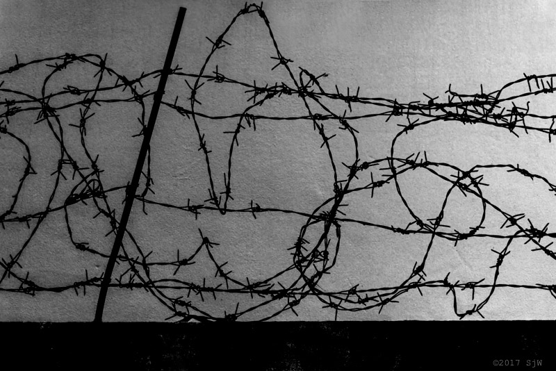 Barbed wire against a wall in Bangkok