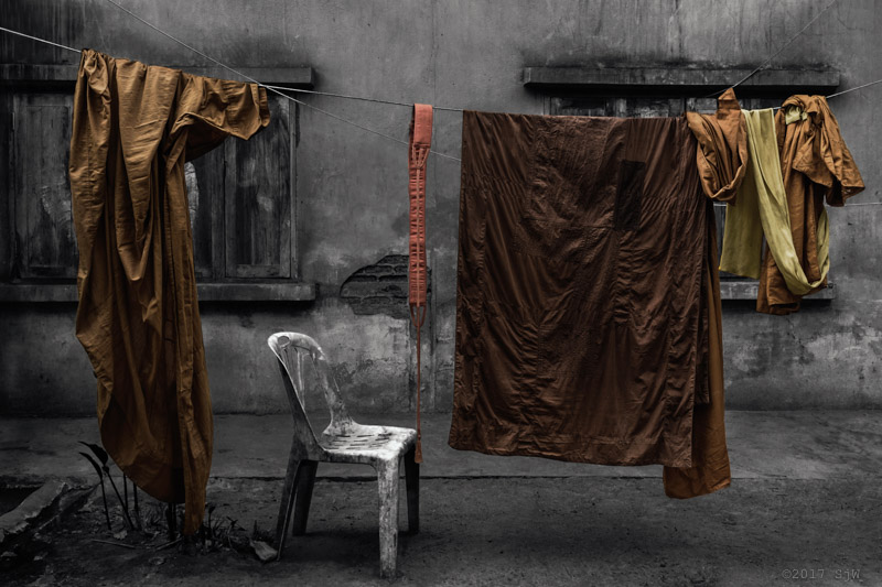 Monks robes hanging to dry